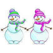 Two snowmen — Stockvektor