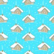 Seamless winter pattern with houses - Grafika wektorowa