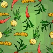 Seamless pattern with carrots and onions. - Image vectorielle