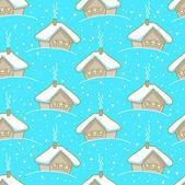 Бесшовный зимний узор с домами — Cтоковый вектор