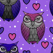 Purple and blue owl - Illustration — Stock Vector