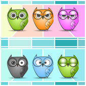 Vector cartoon owls — Stock Vector