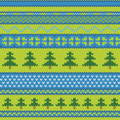 Vector seamless knitted pattern with pine — Stock Vector