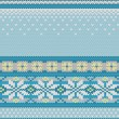 Vector seamless knitted pattern with snowflakes — Stockvectorbeeld