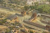 Top view of ruins from mountain Matangi on sunrise, Hampi, India — Stock Photo