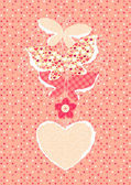 Valentine's Day background with butterflies — Stock Vector