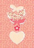Valentine's Day background with butterflies — Stockvektor