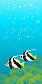 Two striped coral fishes under water — Stock Vector