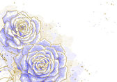 Blue roses on white background — Vector de stock