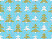 Vector seamless knitted pattern with trees — Stock Vector