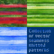 Collection of beautiful seamless vector knitted patterns — Stock Photo