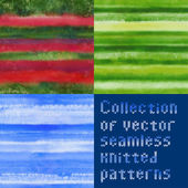 Collection of beautiful seamless vector knitted patterns — Zdjęcie stockowe