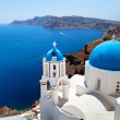 church cupolas of oia town on santorini island — Stock Photo
