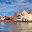 Motlawa river in old town of Gdansk - Stock Photo