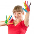 Royalty-Free Stock Photo: Girl with hands painted in colorful paints