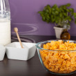 Royalty-Free Stock Photo: Cornflakes and bottle of milk