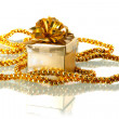 Christmas golden gift box — Stock Photo