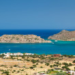 Mirabello Bay view with Spinalonga island on Crete - Stock Photo