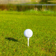 Golf ball on the irish golf course — Stock Photo
