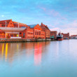 Old town in Gdansk with Motlawa river at sunset — Stock Photo