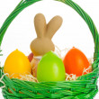 Basket with easter eggs and bunny - Stock Photo