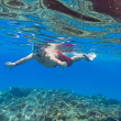 Man snorkeling in Red Sea — Foto Stock