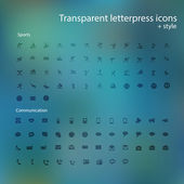 Transparent letterpress icons, style. — Stock fotografie