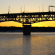 The Coleman bridge at sunset - Stock Photo