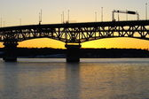 The Coleman bridge at sunset — Stock Photo