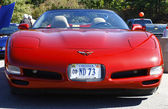 Front of a red Corvette — Stock Photo
