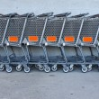 Store shopping carts — 图库照片