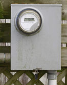 Dirty modern digital electrical metering box — Stockfoto