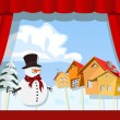 Royalty-Free Stock Vector Image: Christmas puppet theater.Village of snowman