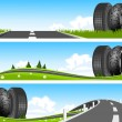 BANNER - Way through nature with tires - Stock Vector