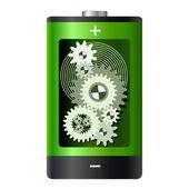 аннотация - батарея с зубчатые колеса внутри — Cтоковый вектор