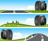 BANNER - Way through nature with tires — Stock Vector