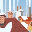 Smoke rising from the chimneys - Stock Vector