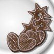 Gingerbread Hearts and Stars on a plate - Stock Vector