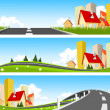 City and way through nature banner - Stock Vector