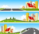 город и путь через природу баннер — Cтоковый вектор