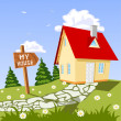 My house in the countryside - Stock Vector