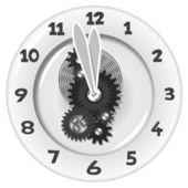 White clock. Five minutes to twelve — Stock Vector