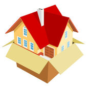New house out of the box — Stock Vector