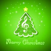 Biglietto di auguri di Natale con chiave di violino — Vettoriale Stock