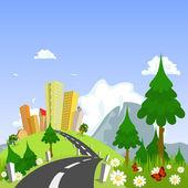 Motyw przyrody z miasta w tle — Wektor stockowy