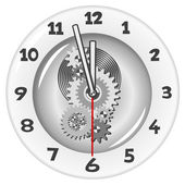 White clock. Five minutes to twelve — Stock Vector