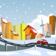 Colorful Winter abstract vector city - Stock Vector