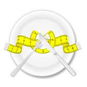 Plate with knife, fork and measure tape — Stockvector