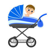 Cute baby boy sitting in stroller. Illustration — Stock Vector