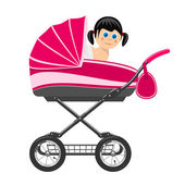 Cute baby girl sitting in stroller. Illustration — Stock Vector